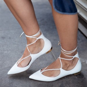White Pointy Toe Lace up Flat Casual Shoes for Women