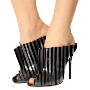 In Seaon Black and Silver Striped Stiletto Heels Trendy Mules