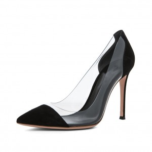 Women's Leila Black Stiletto Heels Pointy Toe Elegant Clear Heels Pumps