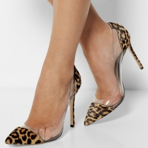 Women's Leopard Print Clear Heels Elegant Stiletto Heels Pumps