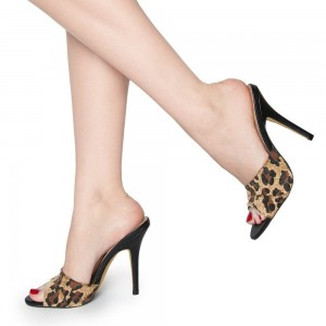 Women's Leopard Print Heels Mule Open Toe Stiletto Heels Sandals