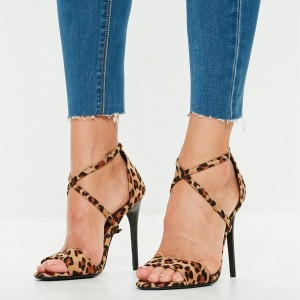Leopard Print Heels Cross Strap Open Toe Suede Stiletto Heel Sandals