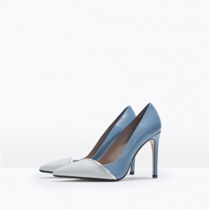 Light Blue 4 Inch Heels Stiletto Heels Pointy Toe Office Heels