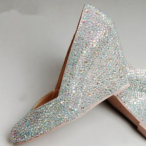 Silver Wedding Shoes Rhinestone Hotfix Bridal Pumps Closed Toe Wedges