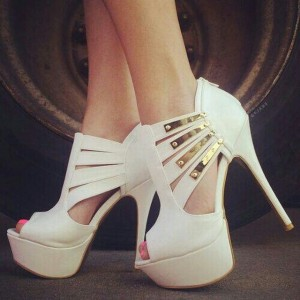 White Platform Heels Peep Toe Pumps with Gold Metal Embellishment
