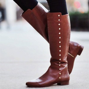 Brown Knee Boots Studs Flat Vintage Shoes US Size 3-15