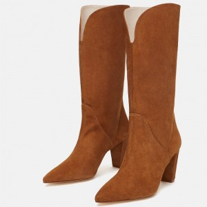 Women's Mid Calf Tan Boots Vintage Pointy Toe Chunky Heel Boots
