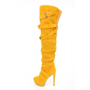 Women's Mustard Platform Long boots Stiletto Heel Buckle Strappy Boots