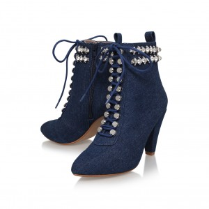 Women's Navy Jeans Rhinestone Lace Up Ankle Denim Boots