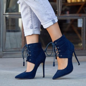 Women's Navy Lace up Stiletto Heels Pointy Toe Suede Strappy Pumps