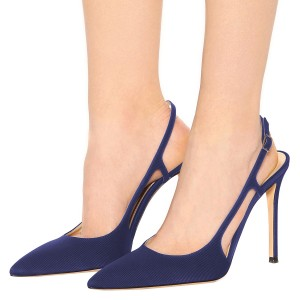 Women's Navy Slingback Heels Stripes Buckle Pumps
