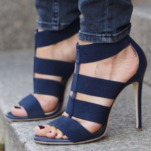Women's Navy Stiletto Heels Dress Shoes Elastic Strap Open Toe Sandals