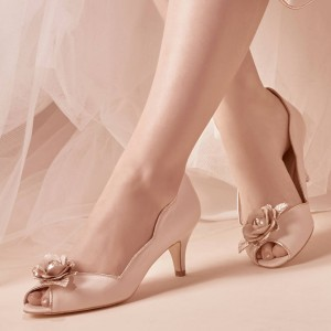 Women's Nude Bridal Heels Golden Rose Kitten Heels Pumps