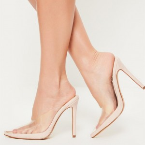 Women's Nude Clear Pointy Toe  Stiletto Heel Mules