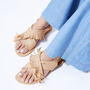 Women's Nude Fringe Sandals Open Toe Comfortable Flat Beach Shoes