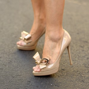 Women's Nude Peep Toe Stiletto Platform Heels Pumps