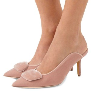 Women's Nude Pointy Toe Elegant Stiletto Heel Mules