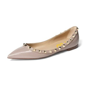 Women's Nude Rivet Patent Leather Pointed Toe Comfortable Flats