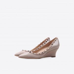 Women's Nude Rivet Patent Leather Pointed Toe Wedge Heels Pumps