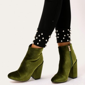 Olive Velvet Block Heel Boots Side Zipper Ankle Booties