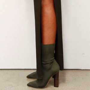 Olive Sock Boots Pointy Toe Cylindrical Heel Fashion Booties