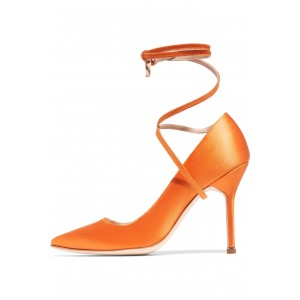 Women's Orange Ankle Strap Heels Strappy Stiletto Heels Pumps