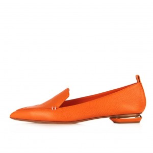 Orange Pointy Toe Low Heel Loafers for Women