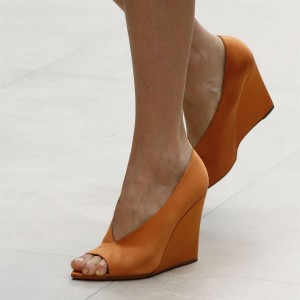 Women's Orange Peep Toe Wedge Heels Pumps Office Shoes