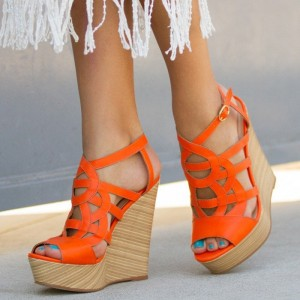 Women's Orange Peep Toe Wedge Sandals Hollow out Ankle Strap Sandals