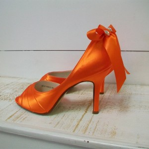 Women's Orange Stiletto Heels Dress Shoes Cute Bows Peep Toe Pumps