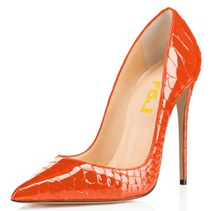 Women's Orange Stiletto Heels Python Pointy Toe Pumps Shoes