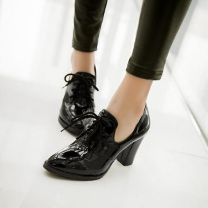 Black Patent Leather Oxford Heels Lace up Chunky Heel Vintage Shoes