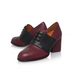 Women's Oxfords Maroon Round Toe Block Heels Vintage Lace-up Shoes