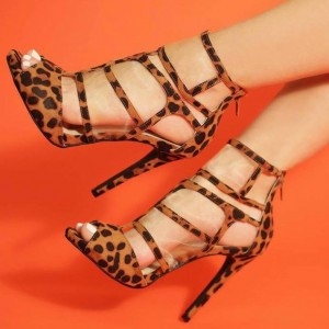 Brown Peep Toe Ankle Strap Sandals Leopard Print Heels Summer Boots