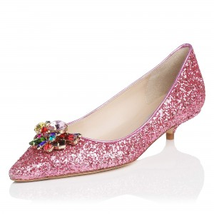 Women's Pink Kitten Heels Pointy Toe Glitter Shoes for Party