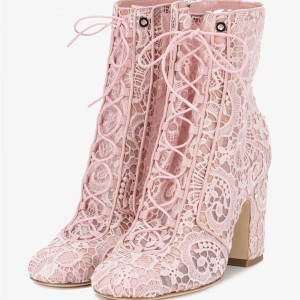 Women's Pink Lace Strappy Round Toe Lace Up Chunky Heel Boots