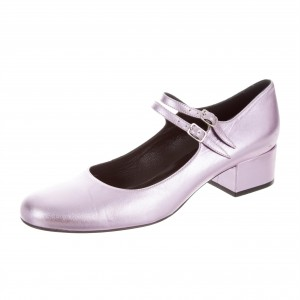 Light Purple Mary Jane Shoes Round Toe Chunky Heel Pumps