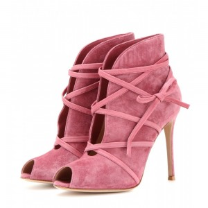 Women's Pink Peep Toe Heels Strappy Stiletto Heels Summer Boots
