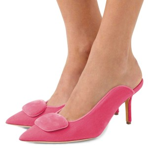 Women's Pink Pointy Toe Elegant Stiletto Heel Mules