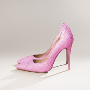 Women's Pink Pointy Toe Stiletto Heels Python Printed Pumps