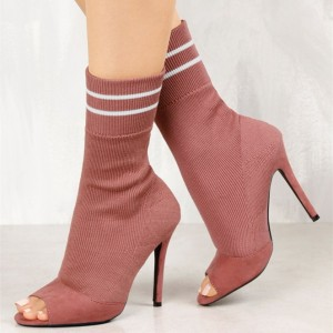 Women's Pink Stiletto Heels Skinny Fashion Peep Toe Ankle Boots