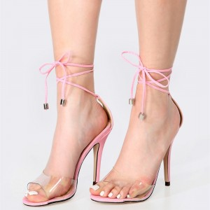 Women's Pink Strappy Sandals Stiletto Heels Open Toe Clear Sandals