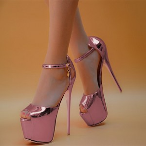 Women's Pink Stripper Heels Super Stiletto Heel Ankle Strap Sandals