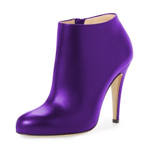 Purple Heeled Boots Round Toe Fashion Work Shoes for Women