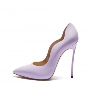 Women's Purple Pointy Toe Stiletto Heels Pumps Office Shoes