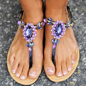 Purple Cute Sandals Open Toe Rhinestone Summer Beach Flats