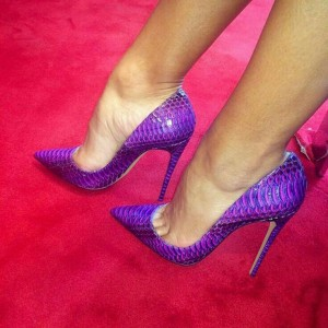 Women's Purple Stiletto Heels Pointy Toe Python Pumps Heels