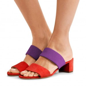 Women's Red and Purple Open Toe Mule Chunky Heel Sandals