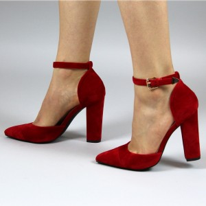 Women's Red Ankle Strap Heels Chunky Heel Pumps