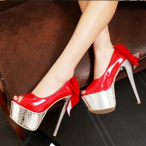 Women's Red Back Bow Super Stiletto Heels Platform Stripper Heels